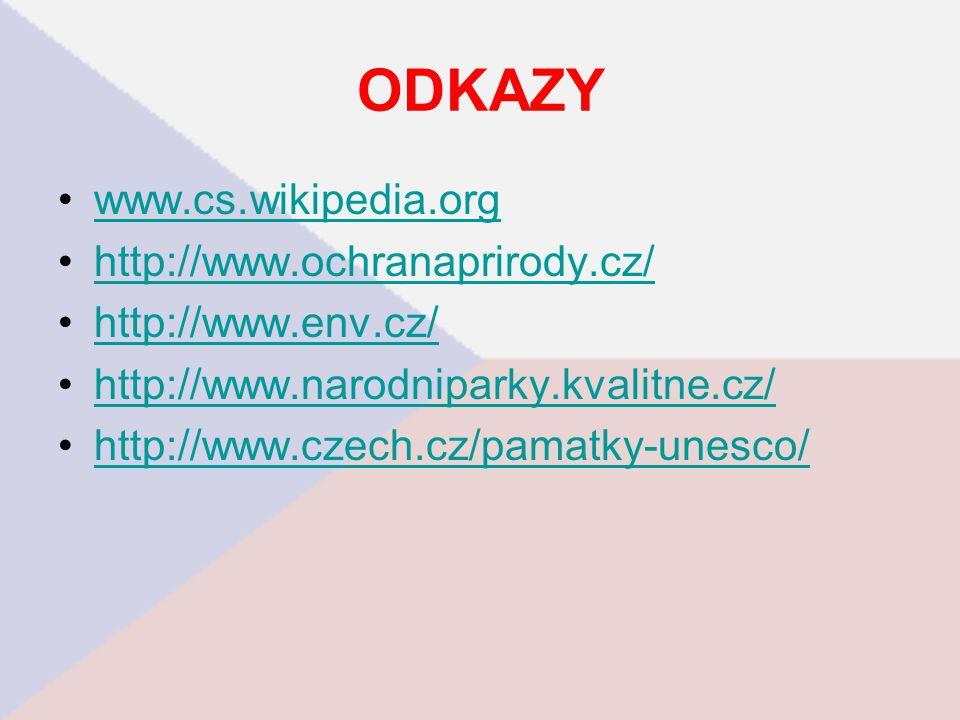 ODKAZY www.cs.wikipedia.org http://www.ochranaprirody.cz/ http://www.env.cz/ http://www.narodniparky.kvalitne.cz/ http://www.czech.cz/pamatky-unesco/