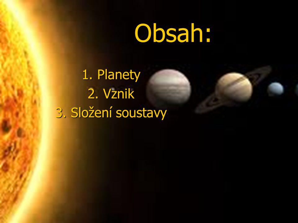 Obsah: Obsah: 1. Planety 1. Planety 2. Vznik 2. Vznik 3. Složení soustavy 3. Složení soustavy