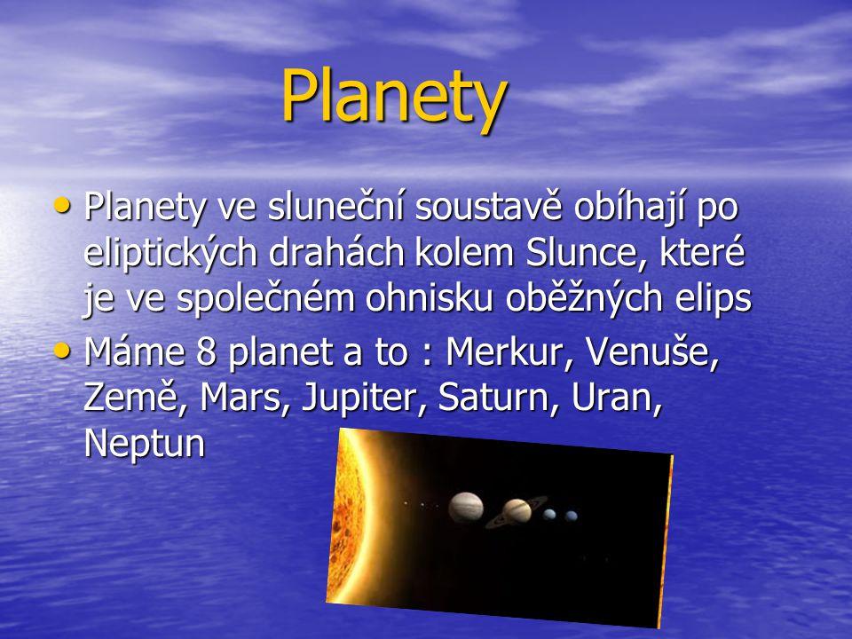 Planety Planety Planety ve sluneční soustavě obíhají po eliptických drahách kolem Slunce, které je ve společném ohnisku oběžných elips Planety ve slun