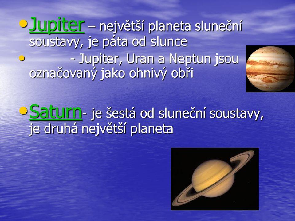 Jupiter – největší planeta sluneční soustavy, je páta od slunce Jupiter – největší planeta sluneční soustavy, je páta od slunce - Jupiter, Uran a Nept