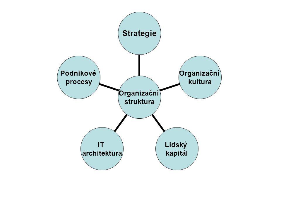 Organizační struktura Strategie Organizační kultura Lidský kapitál IT architektura Podnikové procesy