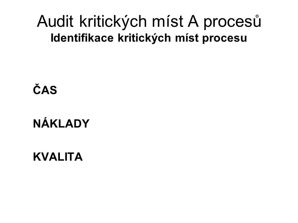 Audit kritických míst A procesů Identifikace kritických míst procesu ČAS NÁKLADY KVALITA
