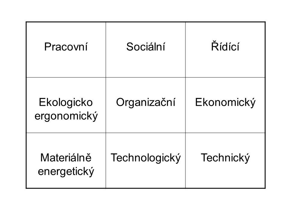 PracovníSociálníŘídící Ekologicko ergonomický OrganizačníEkonomický Materiálně energetický TechnologickýTechnický