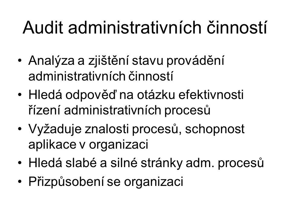 Audit administrativních činností Analýza a zjištění stavu provádění administrativních činností Hledá odpověď na otázku efektivnosti řízení administrat