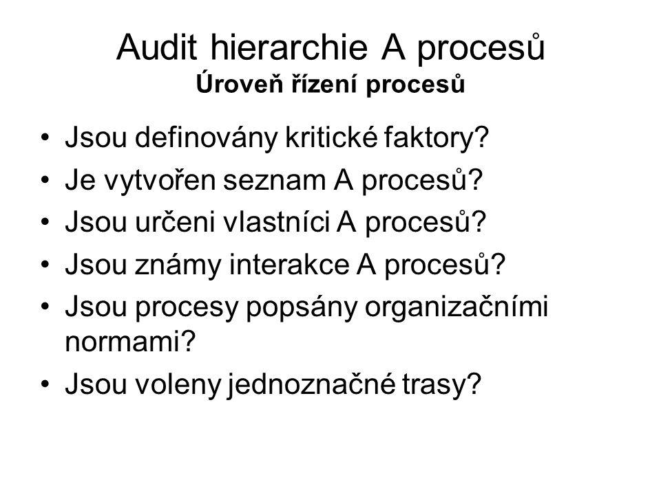 Audit hierarchie A procesů Úroveň řízení procesů Jsou definovány kritické faktory? Je vytvořen seznam A procesů? Jsou určeni vlastníci A procesů? Jsou