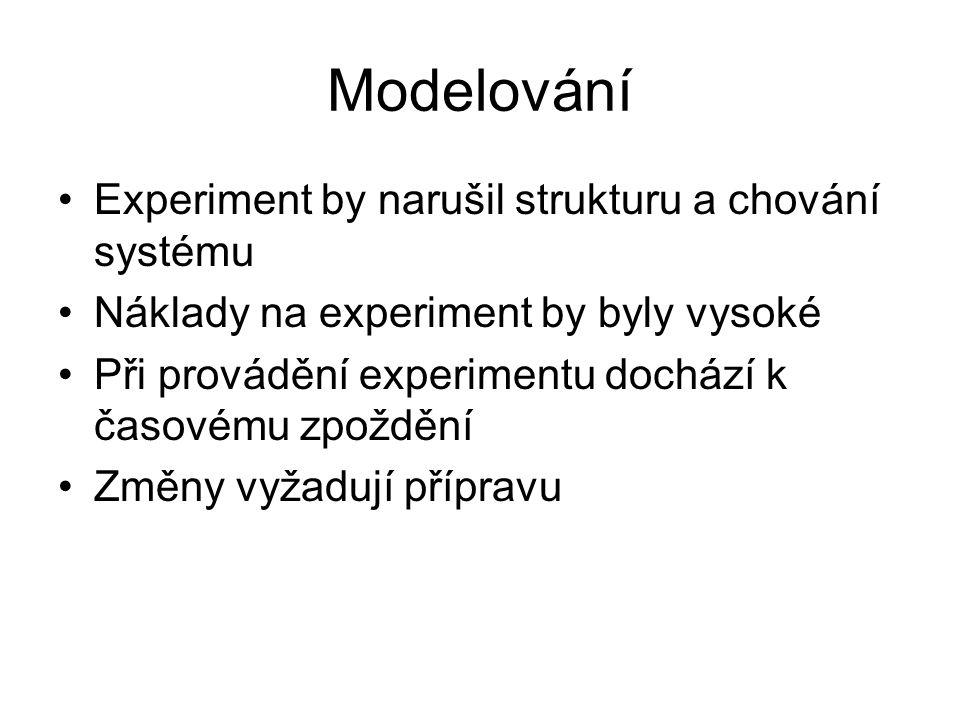 Modelování Experiment by narušil strukturu a chování systému Náklady na experiment by byly vysoké Při provádění experimentu dochází k časovému zpoždění Změny vyžadují přípravu
