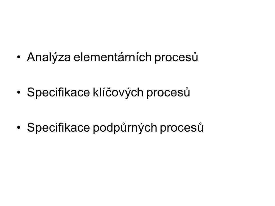 Podpůrné procesy Věcné –Odrážejí nějakou činnost –Jsou provázeny produktem Časované –Proces má výrazná časová ohraničení