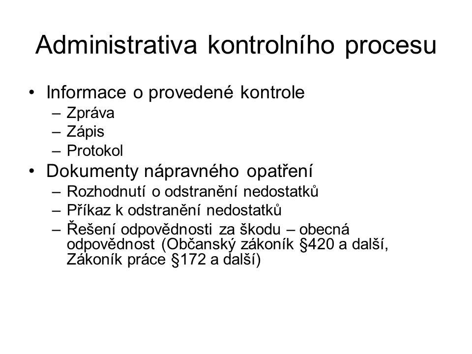 Administrativa kontrolního procesu Informace o provedené kontrole –Zpráva –Zápis –Protokol Dokumenty nápravného opatření –Rozhodnutí o odstranění nedo