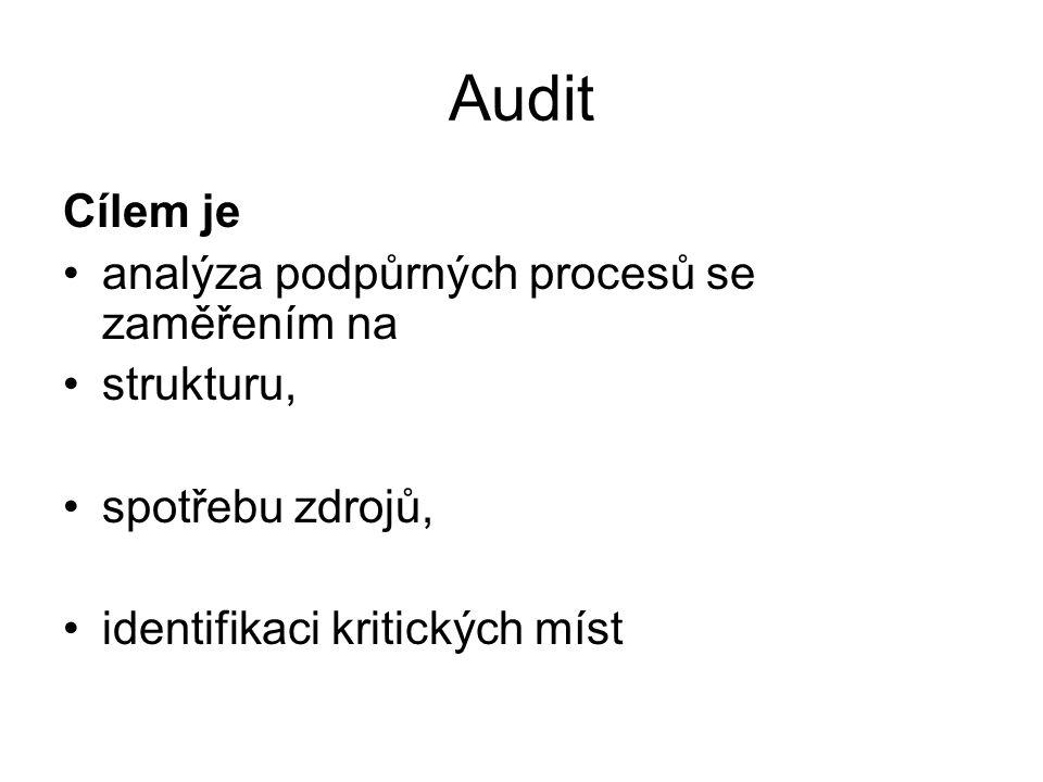 Audit Cílem je analýza podpůrných procesů se zaměřením na strukturu, spotřebu zdrojů, identifikaci kritických míst
