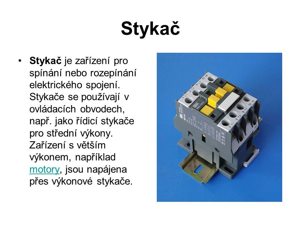 Stykač Stykač je zařízení pro spínání nebo rozepínání elektrického spojení. Stykače se používají v ovládacích obvodech, např. jako řídicí stykače pro