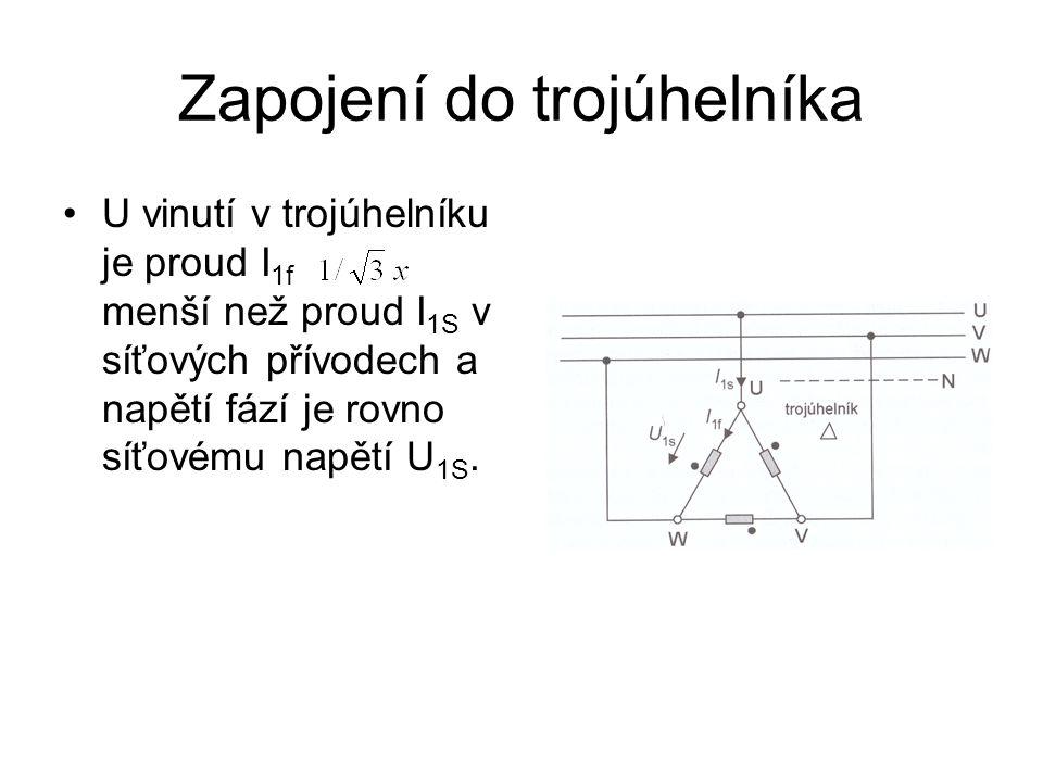 Zapojení do trojúhelníka U vinutí v trojúhelníku je proud I 1f menší než proud I 1S v síťových přívodech a napětí fází je rovno síťovému napětí U 1S.