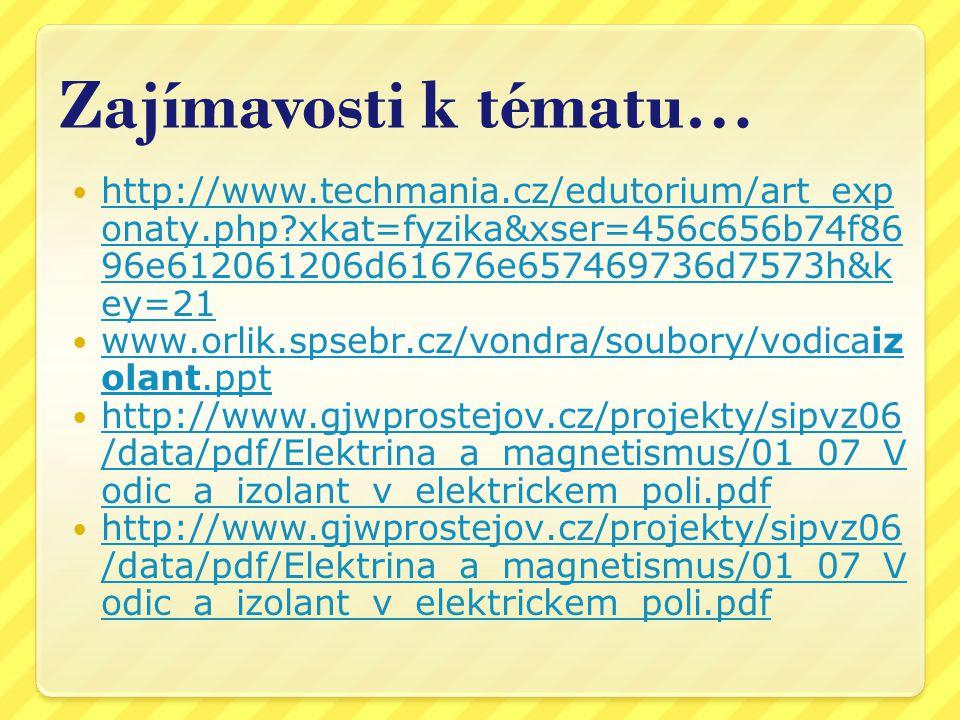 Zajímavosti k tématu… http://www.techmania.cz/edutorium/art_exp onaty.php?xkat=fyzika&xser=456c656b74f86 96e612061206d61676e657469736d7573h&k ey=21 ht