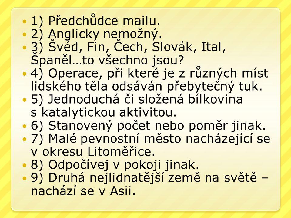 1) Předchůdce mailu. 2) Anglicky nemožný. 3) Švéd, Fin, Čech, Slovák, Ital, Španěl…to všechno jsou? 4) Operace, při které je z různých míst lidského t