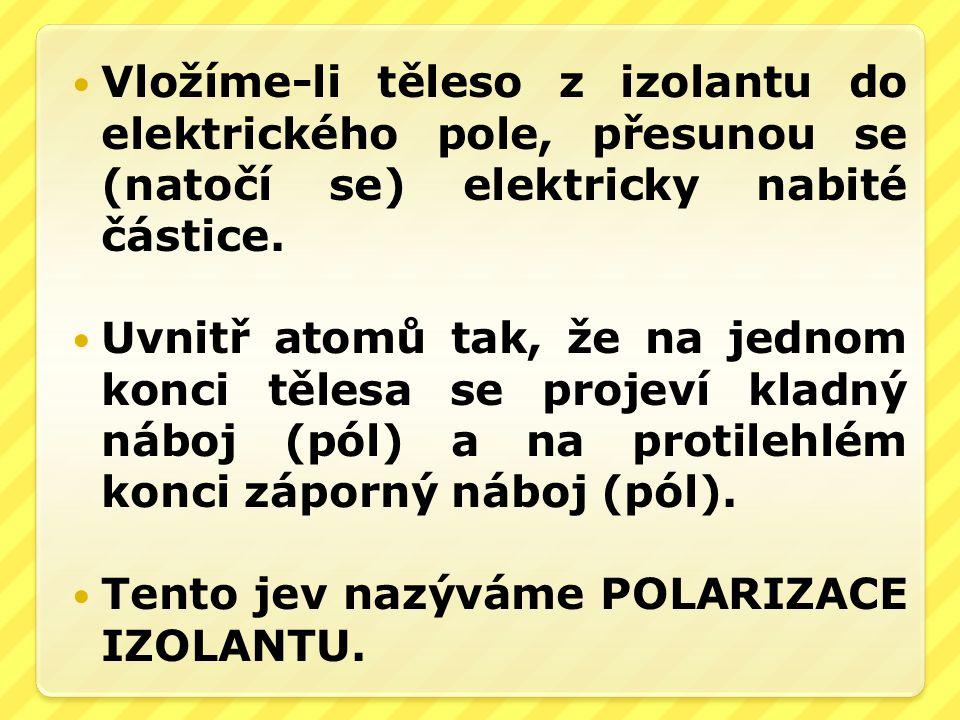 Vložíme-li těleso z izolantu do elektrického pole, přesunou se (natočí se) elektricky nabité částice. Uvnitř atomů tak, že na jednom konci tělesa se p