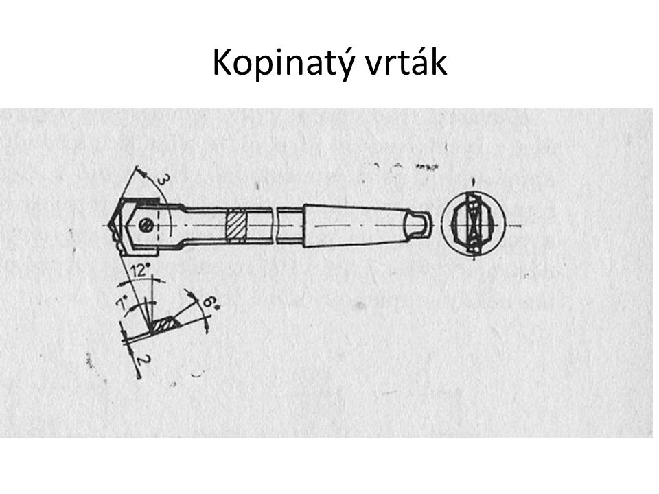 Dělový vrták jednobřitý nástroj vrták – posuvný pohyb obrobek – rotační pohyb hluboké díry (vodicí lišty na obvodě vrtáku – dobré vedení v díře) přívod chladicí kapaliny – vnitřkem držáku, vyplavování třísek drážkou (vnějším výřezem) držák – speciálně tvarovaná trubka, menší průměr než vrtaná díra
