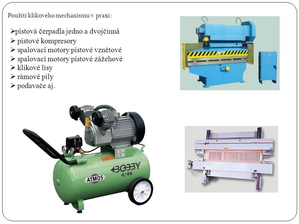 Použití klikového mechanismu v praxi:  pístová čerpadla jedno a dvojčinná  pístové kompresory  spalovací motory pístové vznětové  spalovací motory