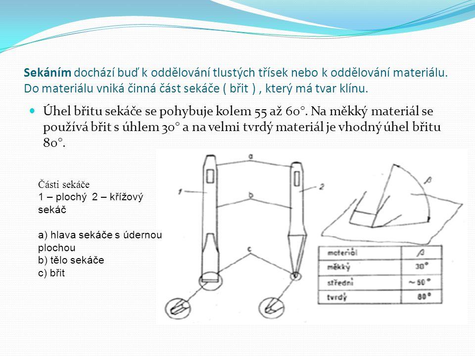 Sekáním dochází buď k oddělování tlustých třísek nebo k oddělování materiálu. Do materiálu vniká činná část sekáče ( břit ), který má tvar klínu. Úhel
