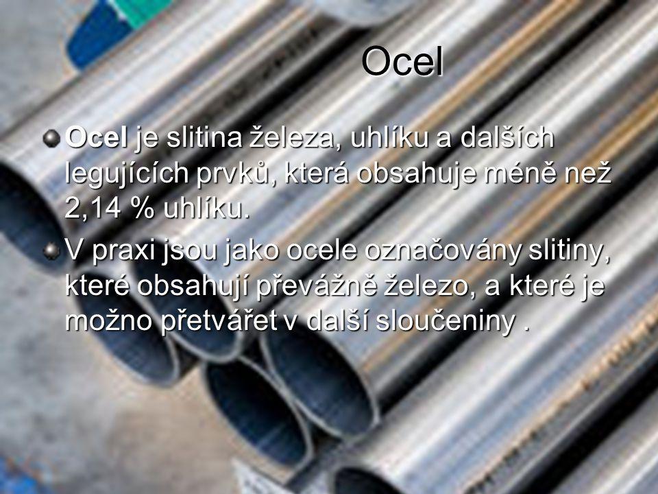Vlastnosti oceli Hustota oceli je 7850 kg/m Bod tání oceli je přibližně 1539 °C.