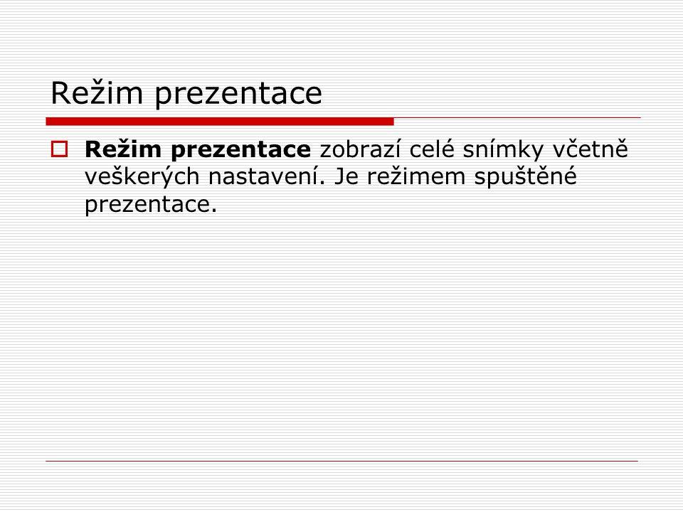 Režim prezentace  Režim prezentace zobrazí celé snímky včetně veškerých nastavení. Je režimem spuštěné prezentace.