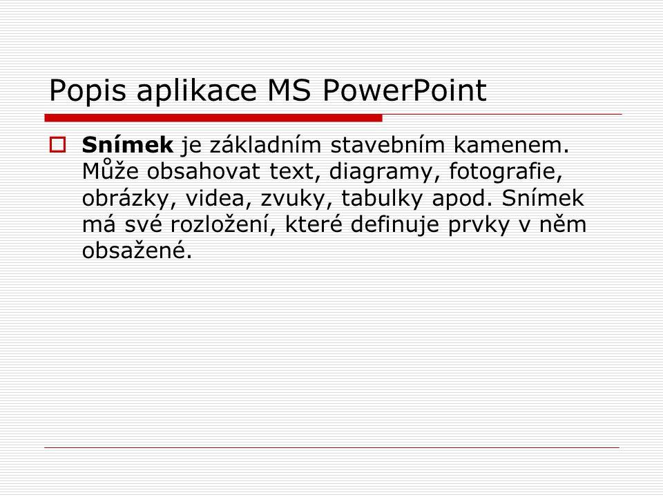 Popis aplikace MS PowerPoint  Snímek je základním stavebním kamenem. Může obsahovat text, diagramy, fotografie, obrázky, videa, zvuky, tabulky apod.