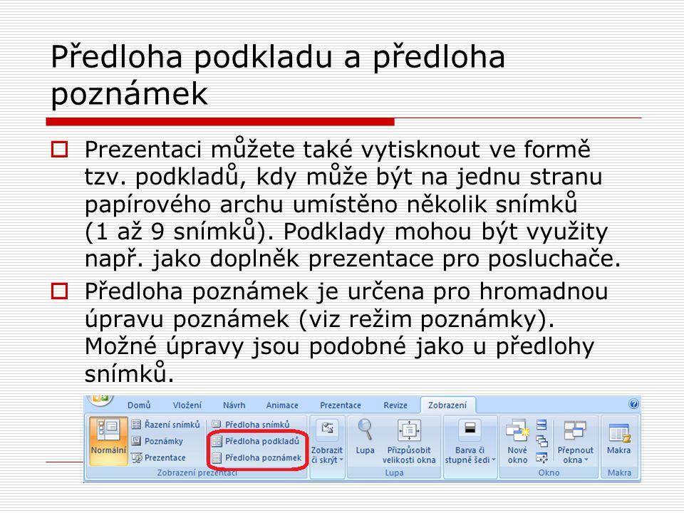 Předloha podkladu a předloha poznámek  Prezentaci můžete také vytisknout ve formě tzv. podkladů, kdy může být na jednu stranu papírového archu umístě