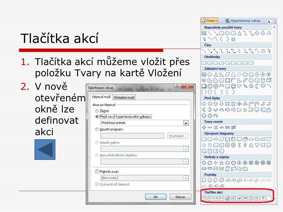 Tlačítka akcí 1.Tlačítka akcí můžeme vložit přes položku Tvary na kartě Vložení 2.V nově otevřeném okně lze definovat akci