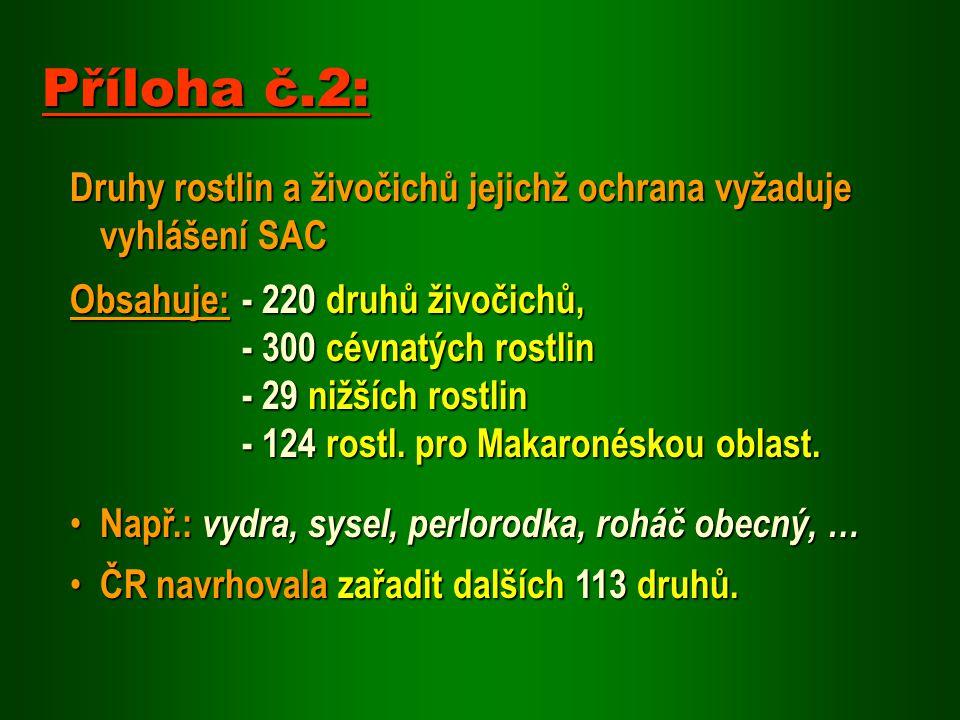 Druhy rostlin a živočichů jejichž ochrana vyžaduje vyhlášení SAC Obsahuje: - 220 druhů živočichů, - 300 cévnatých rostlin - 29 nižších rostlin - 124 r