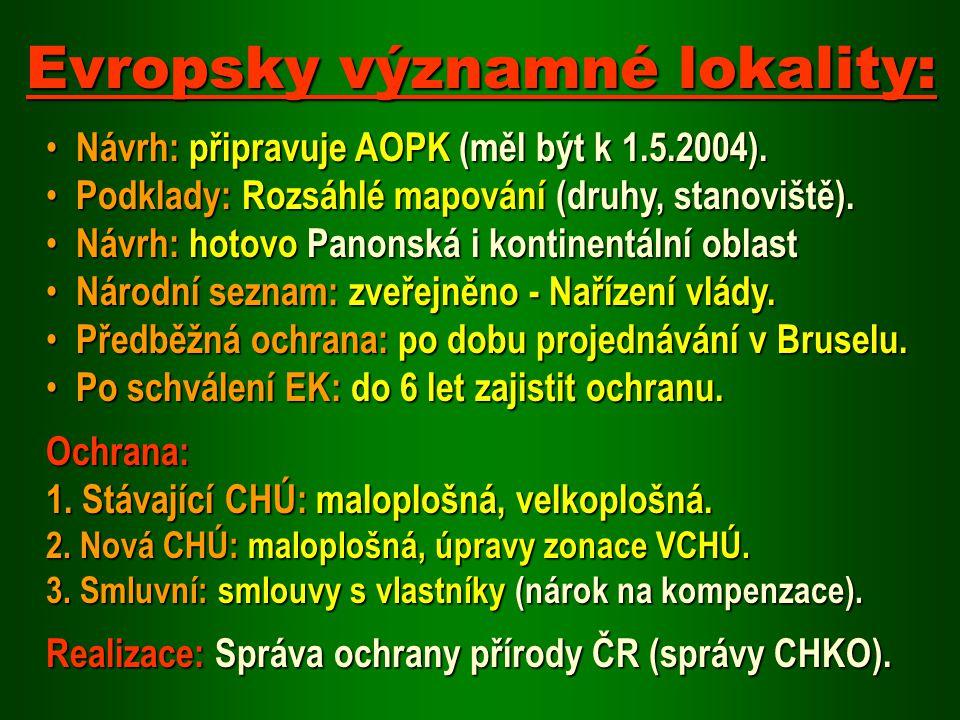 Návrh: připravuje AOPK (měl být k 1.5.2004). Návrh: připravuje AOPK (měl být k 1.5.2004). Podklady: Rozsáhlé mapování (druhy, stanoviště). Podklady: R