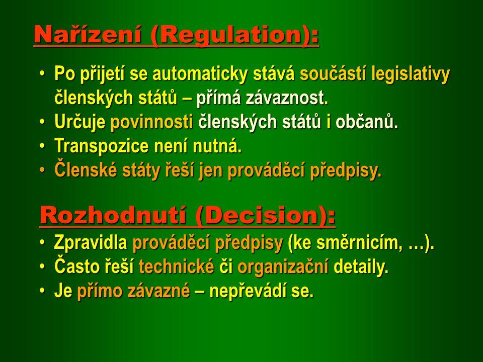Po přijetí se automaticky stává součástí legislativy členských států – přímá závaznost. Po přijetí se automaticky stává součástí legislativy členských