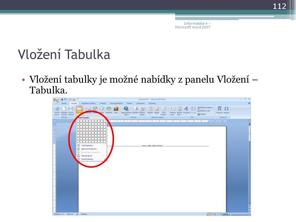 Vložení Tabulka Vložení tabulky je možné nabídky z panelu Vložení – Tabulka.