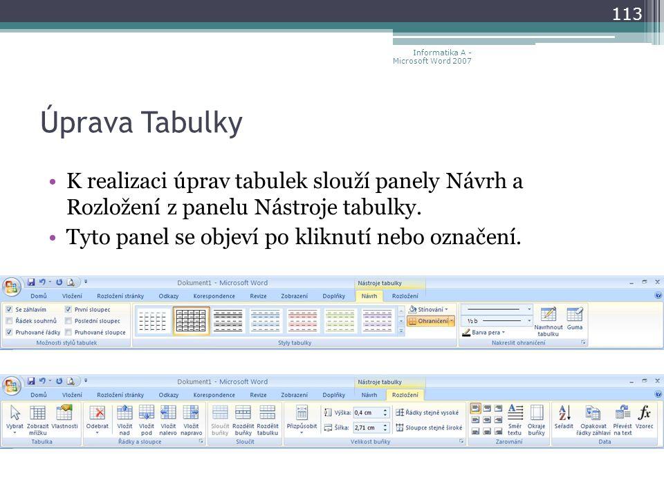Úprava Tabulky K realizaci úprav tabulek slouží panely Návrh a Rozložení z panelu Nástroje tabulky.