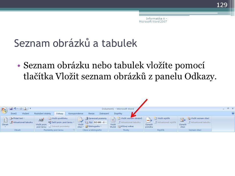 Seznam obrázků a tabulek 129 Informatika A - Microsoft Word 2007 Seznam obrázku nebo tabulek vložíte pomocí tlačítka Vložit seznam obrázků z panelu Odkazy.