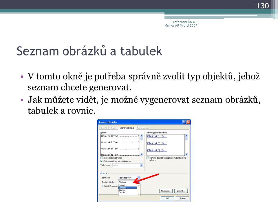 Seznam obrázků a tabulek 130 Informatika A - Microsoft Word 2007 V tomto okně je potřeba správně zvolit typ objektů, jehož seznam chcete generovat.