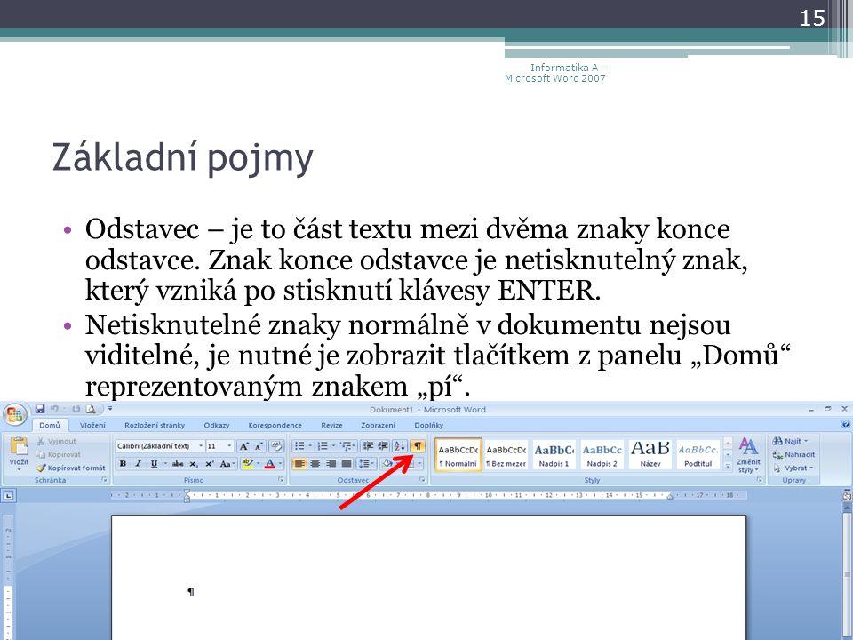 Základní pojmy Odstavec – je to část textu mezi dvěma znaky konce odstavce.