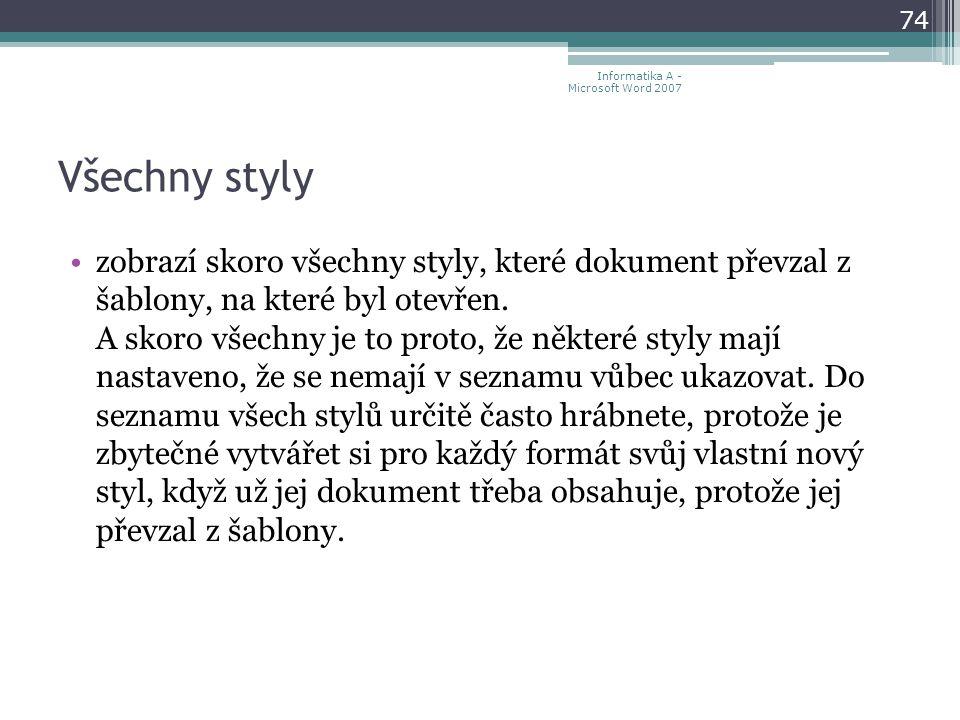 Všechny styly zobrazí skoro všechny styly, které dokument převzal z šablony, na které byl otevřen.
