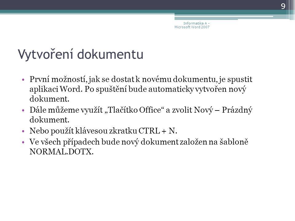 Vytvoření dokumentu První možností, jak se dostat k novému dokumentu, je spustit aplikaci Word.