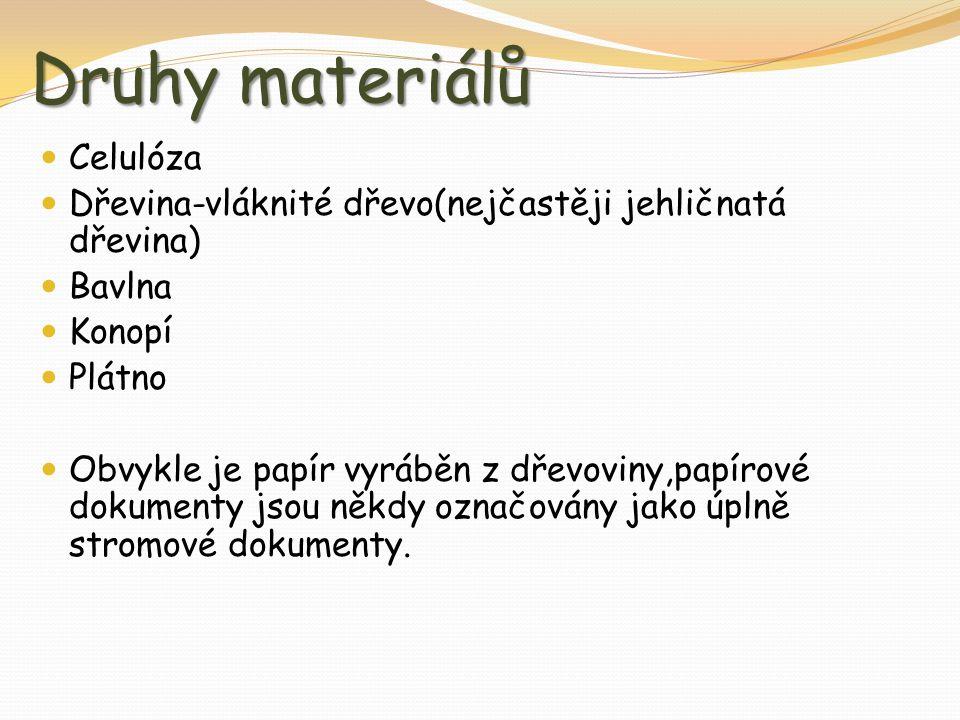 Druhy materiálů Celulóza Dřevina-vláknité dřevo(nejčastěji jehličnatá dřevina) Bavlna Konopí Plátno Obvykle je papír vyráběn z dřevoviny,papírové dokumenty jsou někdy označovány jako úplně stromové dokumenty.