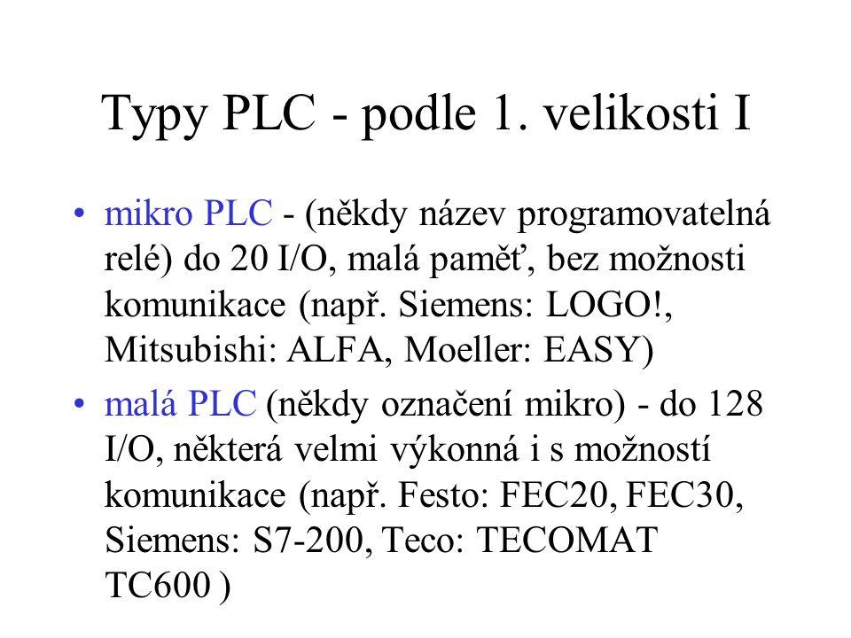 Typy PLC - podle 1. velikosti I mikro PLC - (někdy název programovatelná relé) do 20 I/O, malá paměť, bez možnosti komunikace (např. Siemens: LOGO!, M