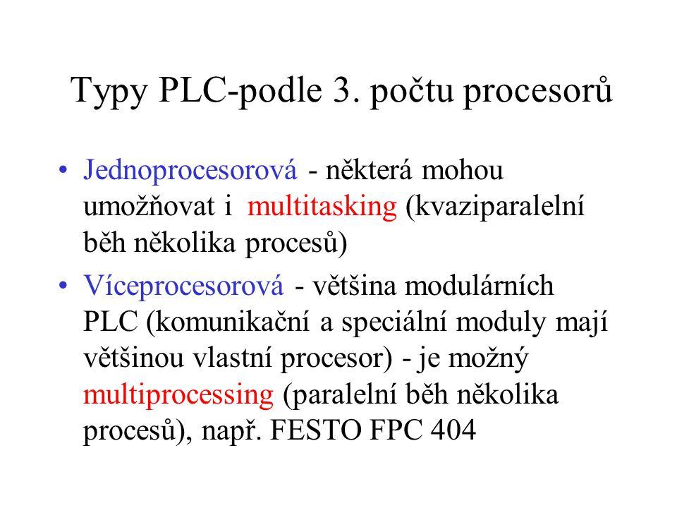 Typy PLC-podle 3. počtu procesorů Jednoprocesorová - některá mohou umožňovat i multitasking (kvaziparalelní běh několika procesů) Víceprocesorová - vě