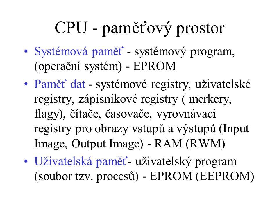 CPU - paměťový prostor Systémová paměť - systémový program, (operační systém) - EPROM Paměť dat - systémové registry, uživatelské registry, zápisníkové registry ( merkery, flagy), čítače, časovače, vyrovnávací registry pro obrazy vstupů a výstupů (Input Image, Output Image) - RAM (RWM) Uživatelská paměť- uživatelský program (soubor tzv.