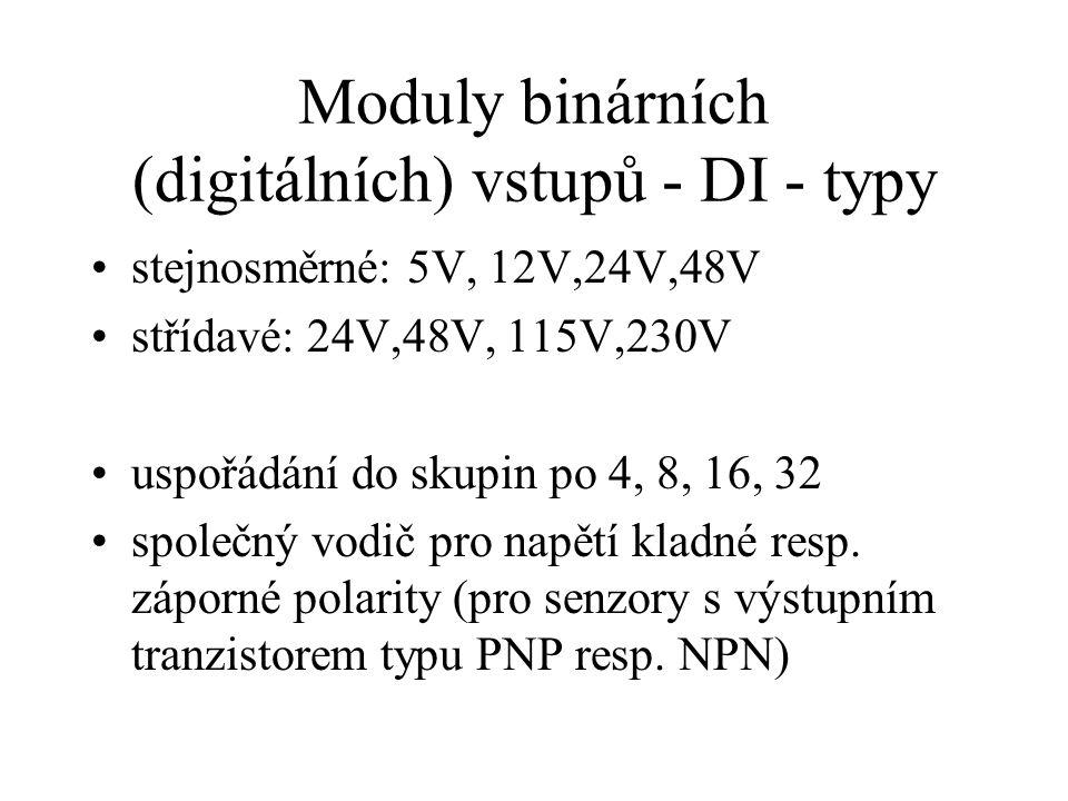 Moduly binárních (digitálních) vstupů - DI - typy stejnosměrné: 5V, 12V,24V,48V střídavé: 24V,48V, 115V,230V uspořádání do skupin po 4, 8, 16, 32 společný vodič pro napětí kladné resp.