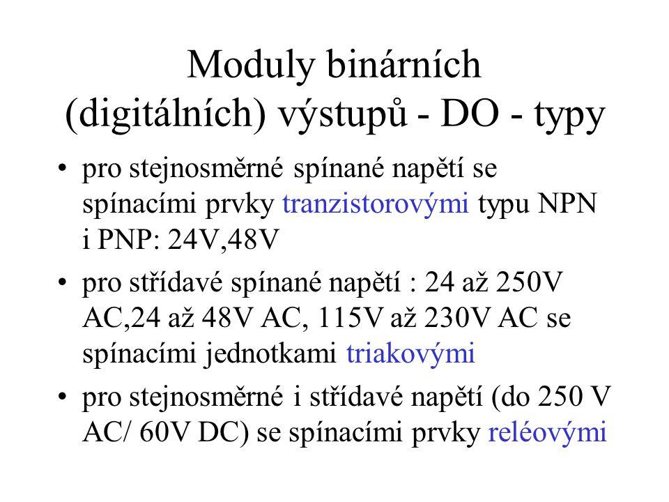 Moduly binárních (digitálních) výstupů - DO - typy pro stejnosměrné spínané napětí se spínacími prvky tranzistorovými typu NPN i PNP: 24V,48V pro střídavé spínané napětí : 24 až 250V AC,24 až 48V AC, 115V až 230V AC se spínacími jednotkami triakovými pro stejnosměrné i střídavé napětí (do 250 V AC/ 60V DC) se spínacími prvky reléovými