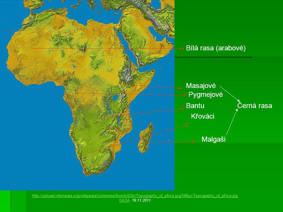 Bílá rasa (arabové) Pygmejové Křováci http://upload.wikimedia.org/wikipedia/commons/thumb/0/0c/Topography_of_africa.jpg/548px-Topography_of_africa.jpg NASANASA.