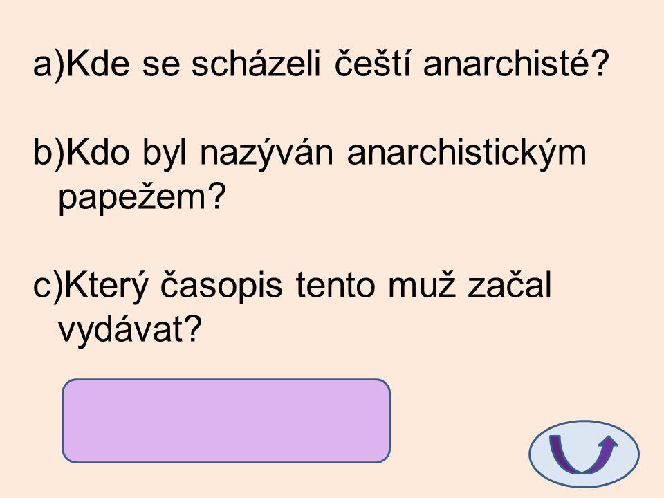 a)Kde se scházeli čeští anarchisté? b)Kdo byl nazýván anarchistickým papežem? c)Který časopis tento muž začal vydávat? a)ve vile na Olšanech b)S.K. Ne