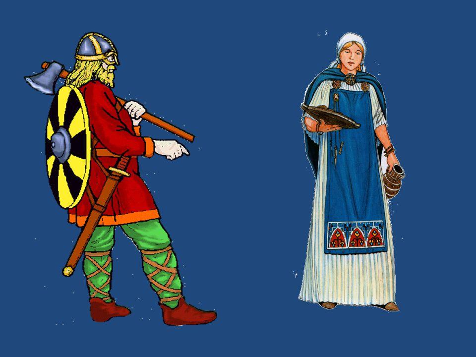 """SPOLEČNOST: král - volen válečníky; moc omezena mocí lidu svobodní = velkostatkáři (šlechta) a loďaři válečníci sedláci, řemeslníci, obchodníci nesvobodní otroci Válečníci velmi disciplinovaní, silní Zbraně: obouruční meče, oštěpy, štíty sekery helmy """"Jako bodající sršňové se rozlétli po celé zemi, řádili jako zuřiví vlci, drancující, trhající a zabíjející nejenom ovce a voly, ale i kněží a jáhny a taktéž sbory mnichů a jeptišek... Šimon z Durhamu [1 [1"""