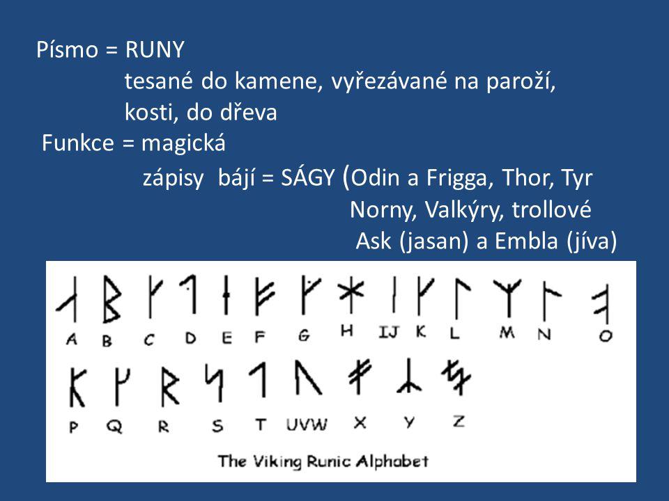 Písmo = RUNY tesané do kamene, vyřezávané na paroží, kosti, do dřeva Funkce = magická zápisy bájí = SÁGY ( Odin a Frigga, Thor, Tyr Norny, Valkýry, tr