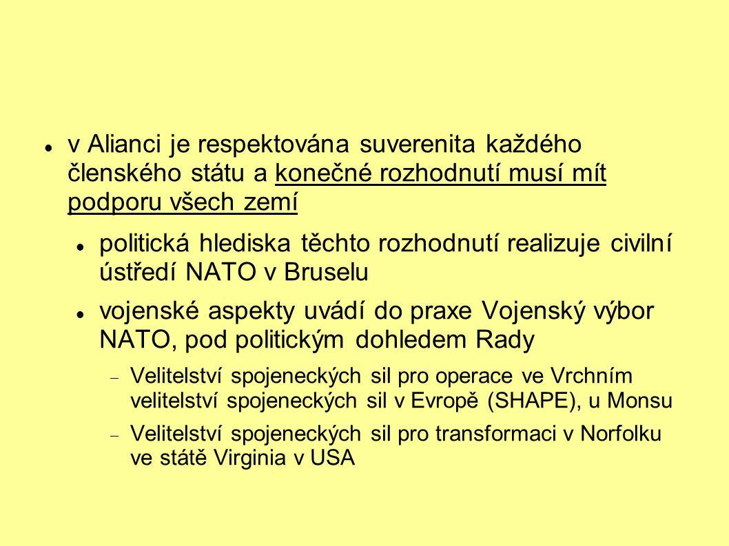 v Alianci je respektována suverenita každého členského státu a konečné rozhodnutí musí mít podporu všech zemí politická hlediska těchto rozhodnutí rea