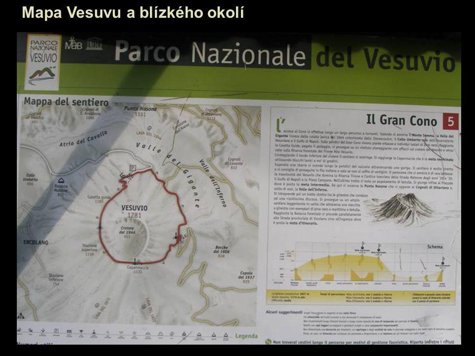 Mapa Vesuvu a blízkého okolí