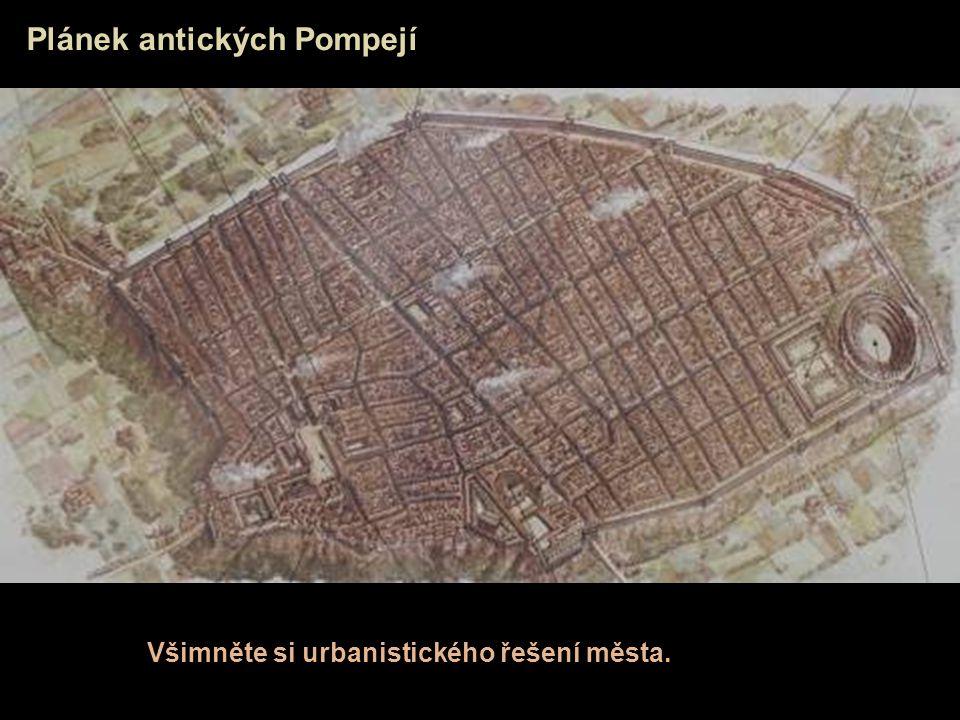 Plánek antických Pompejí Všimněte si urbanistického řešení města.