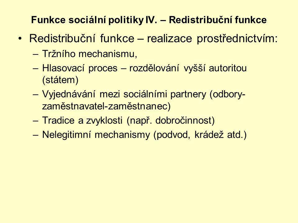 Redistribuční funkce – realizace prostřednictvím: –Tržního mechanismu, –Hlasovací proces – rozdělování vyšší autoritou (státem) –Vyjednávání mezi soci